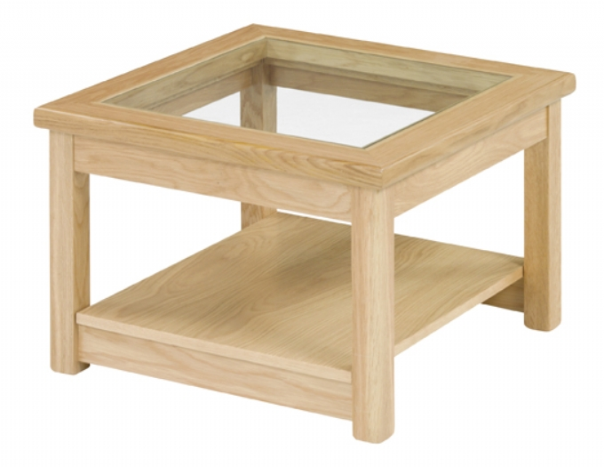 Contemporary side table with glass