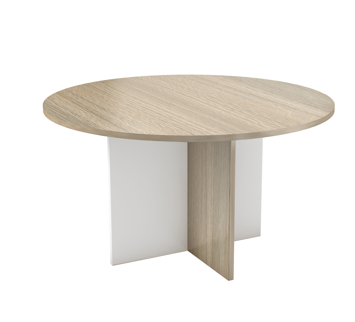 Round table with cross based legs available in melamine for Table in table