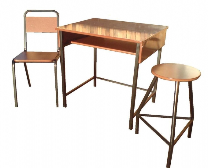 Lab desk, stool and chair