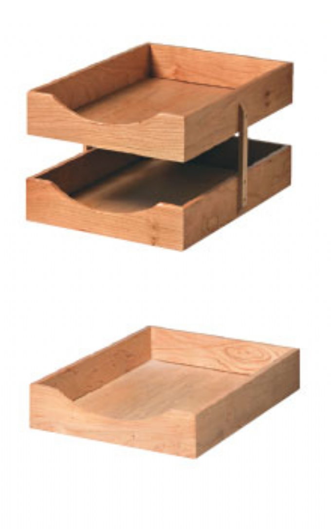 Wooden paper trays.