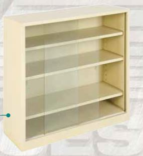 sliding glass door bookcase with 3 adjustable shelves 1219h x 1066w x