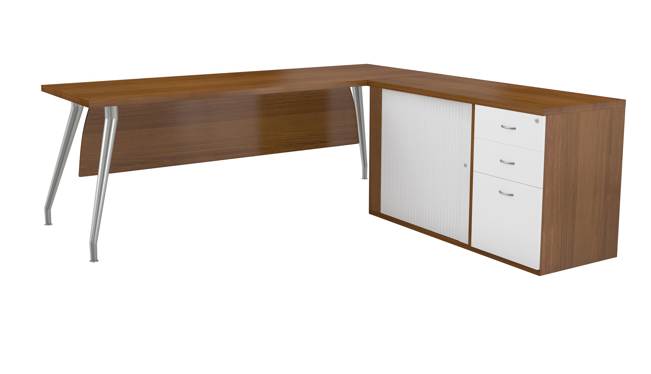 Desk Range With Curved Chrome Legs