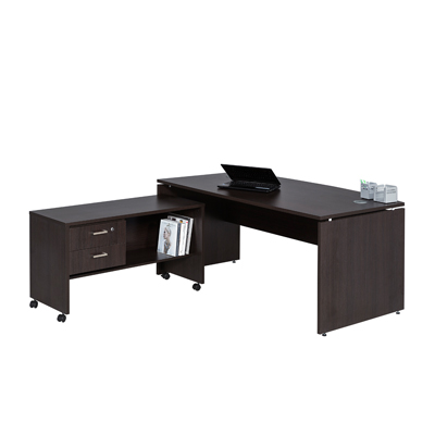 Platinum Bow Front Desk With Mobile Extension Oxford Office Furniture